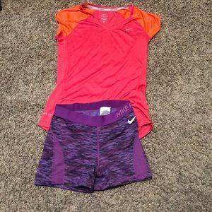 Nike outfit small shirt medium shorts both dri fit